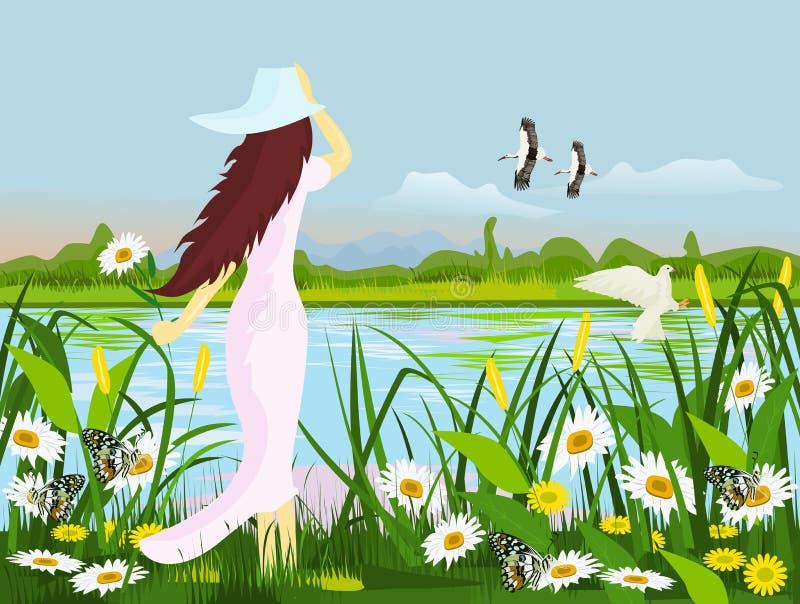 Een witte kledingsvrouw die een hoed dragen, die zich bij de rand van een moeras met bloemen, vlinder, vogels met bossenachtergro stock illustratie
