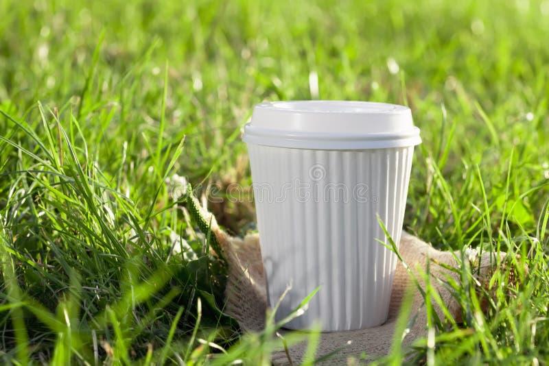 Een witte koffiekop in het gras royalty-vrije stock fotografie