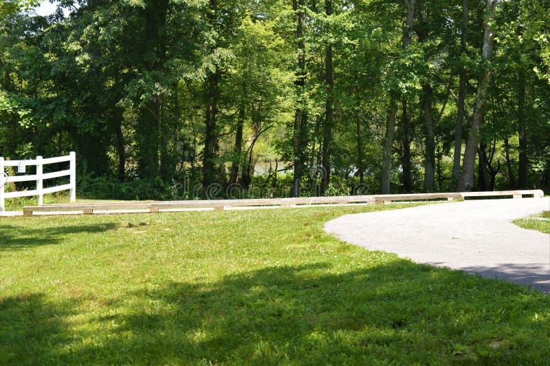 Een Witte Omheining On een Weg naast een Laag Besnoeiings Groen Gebied en een Groen Bos stock afbeelding