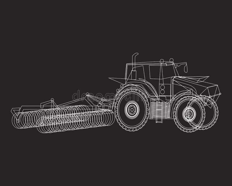 Een witte omtrektrekker in het veld verwerkt het gewas, een vectorstamillustratie op een zwarte achtergrond voor de landbouw royalty-vrije illustratie