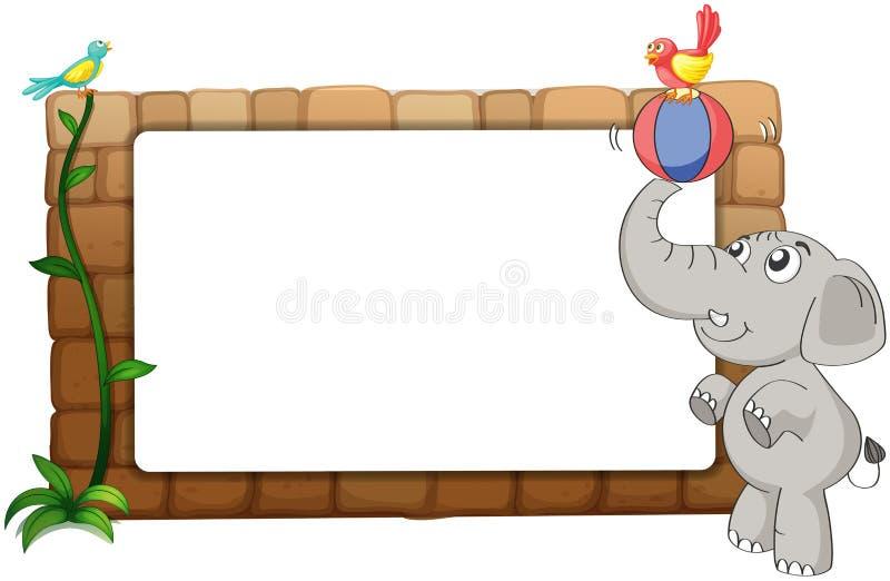 Een witte raad, een olifant en vogels royalty-vrije illustratie