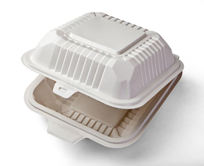 Een witte voedseldoos, die voor hamburger, lunch, snel die voedsel, hamburger en sandwich verpakken, met het knippen van weg word stock foto