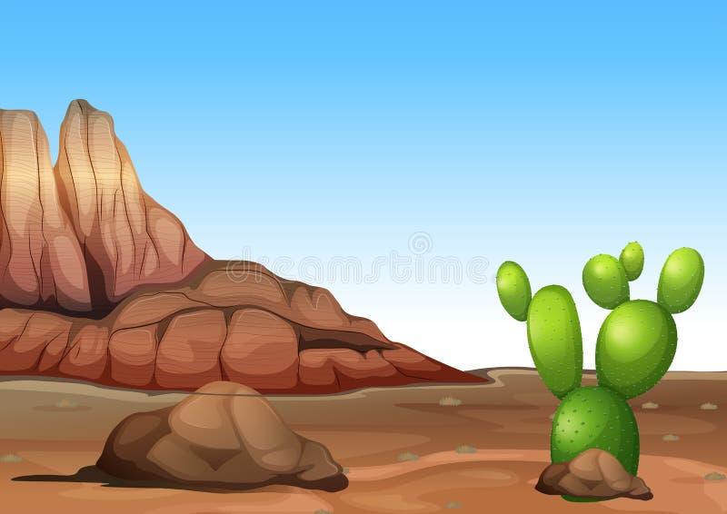Een woestijn met een cactus stock illustratie