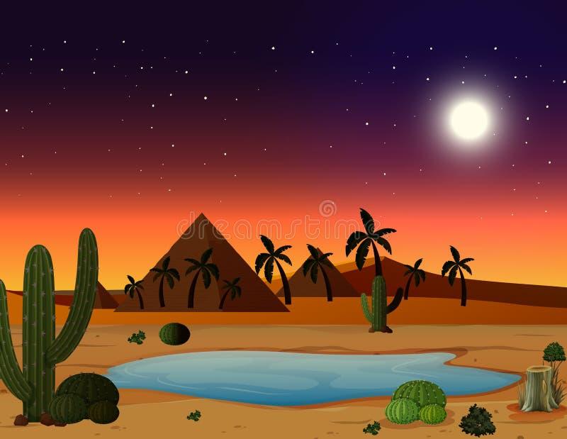 Een woestijnscène bij nacht vector illustratie