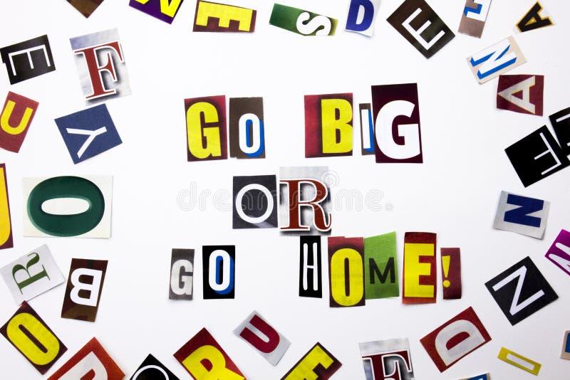 Een woord het schrijven tekst die Groot concept Go tonen die of gaat naar huis van de verschillende brief van de tijdschriftkrant royalty-vrije stock foto's