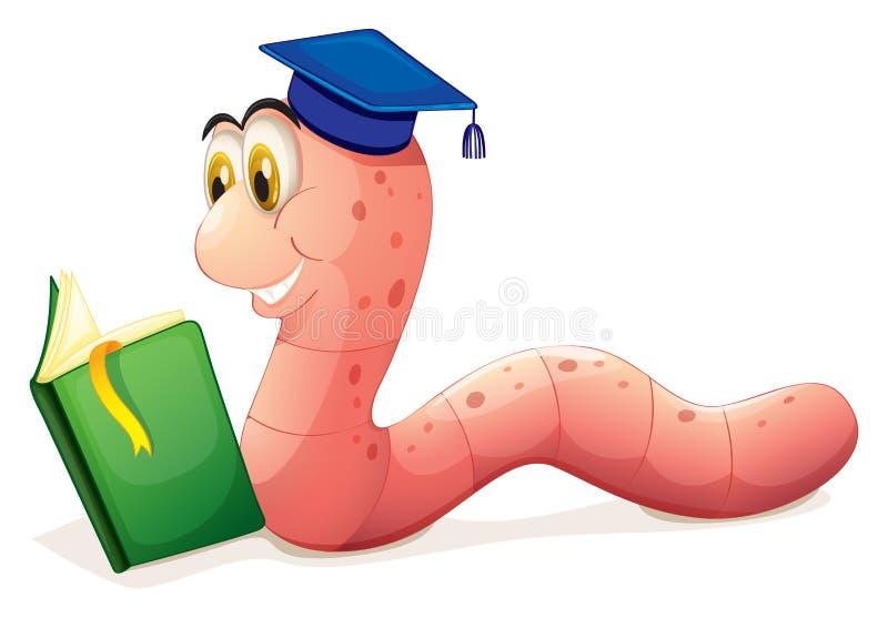 Een wormlezing die een graduatie GLB dragen stock illustratie