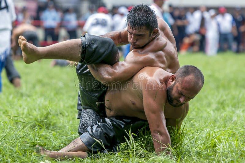Een worstelaar neemt controle van zijn slag tijdens de concurrentie bij het de Olie van Kirkpinar Turkse het Worstelen Festival i stock foto's