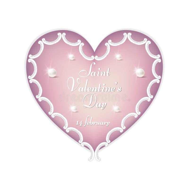 Een zacht roze hart met een ornament aan de Dag van Valentine ` s, 14 Februari voor ontwerp en druk royalty-vrije stock fotografie