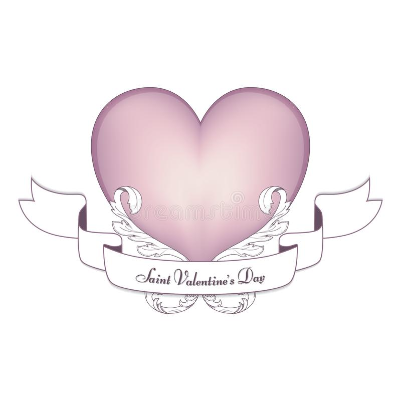Een zacht roze hart met een ornament met een witte banner op de Dag van Valentine ` s, 14 Februari Voor ontwerp royalty-vrije stock afbeelding