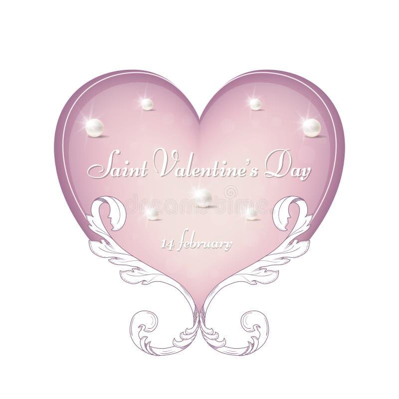 Een zacht roze hart met een Victoriaans ornament voor de Dag van Valentine ` s, 14 Februari voor ontwerp en druk royalty-vrije stock fotografie