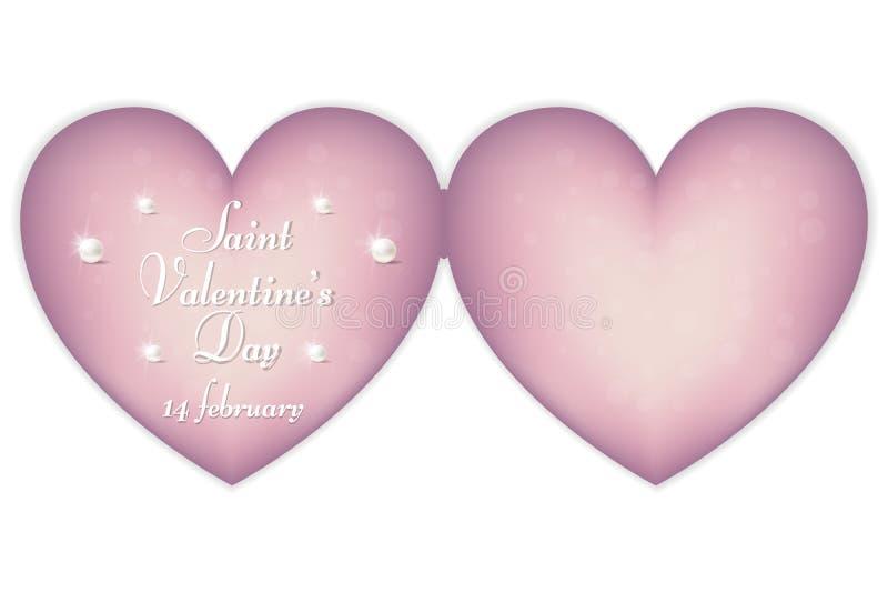 Een zacht roze hart-vormig karton voor de Dag van Valentine ` s op 14 Februari Ornament in uitstekende, Victoriaanse stijl royalty-vrije stock foto's