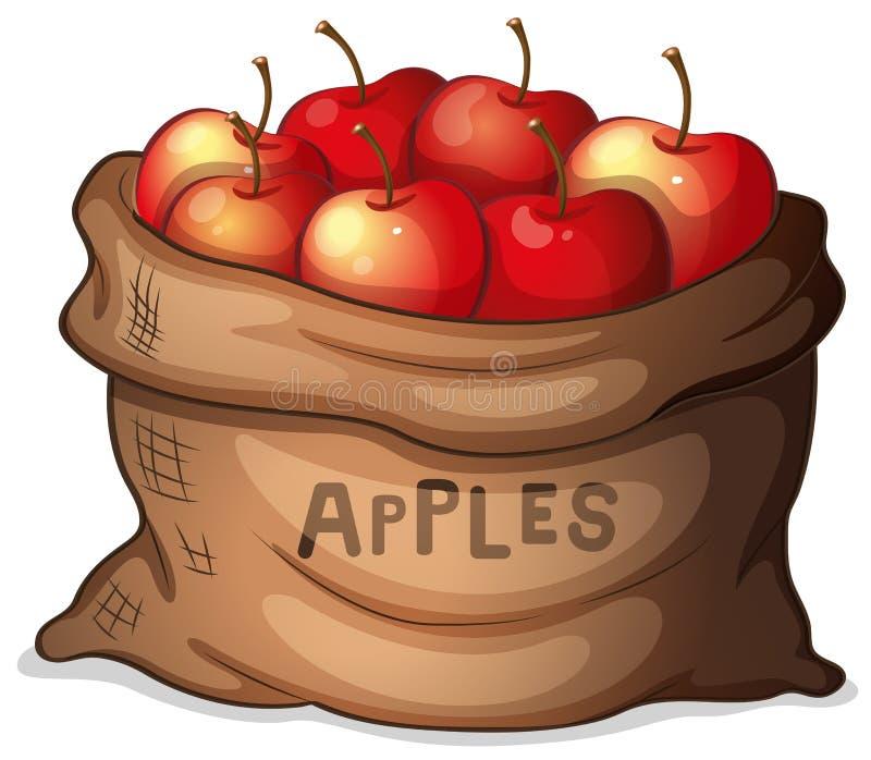 Een zak van appelen stock illustratie