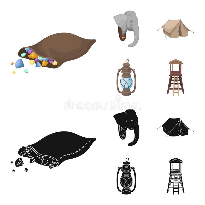 Een zak van diamanten, een olifantshoofd, een kerosinelamp, een tent De Afrikaanse pictogrammen van de safari vastgestelde inzame royalty-vrije illustratie