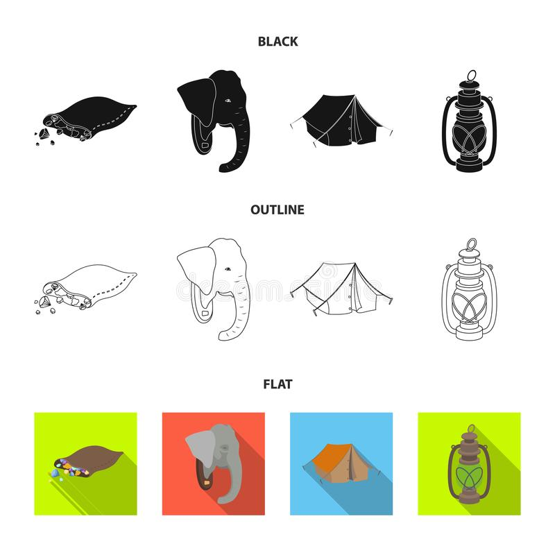 Een zak van diamanten, een olifantshoofd, een kerosinelamp, een tent De Afrikaanse pictogrammen van de safari vastgestelde inzame stock illustratie