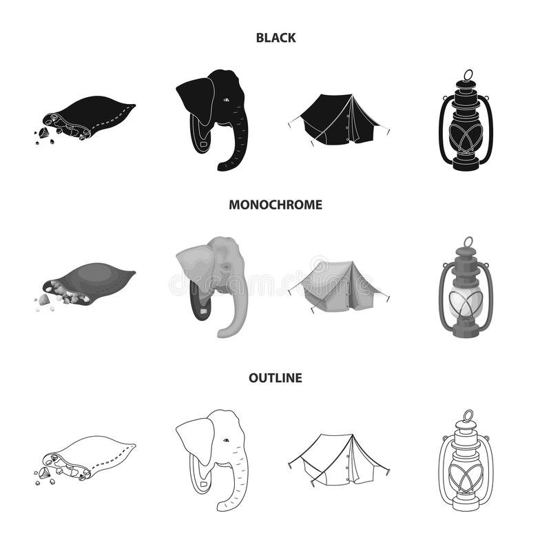 Een zak van diamanten, een olifantshoofd, een kerosinelamp, een tent De Afrikaanse pictogrammen van de safari vastgestelde inzame vector illustratie