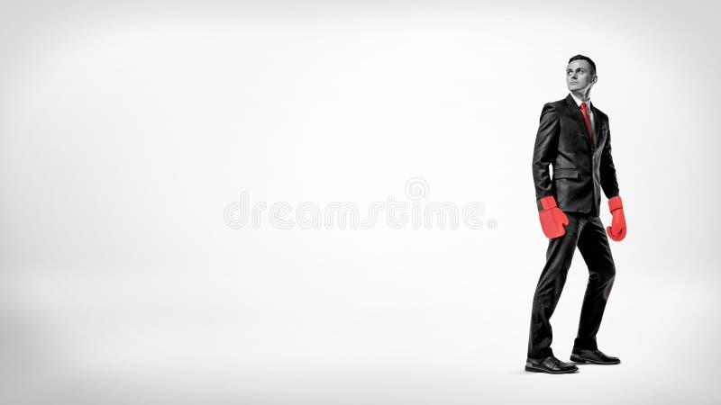 Een zakenman bevindt zich in de helft aanzet een tijdjeachtergrond die een kostuum en rode bokshandschoenen dragen stock foto