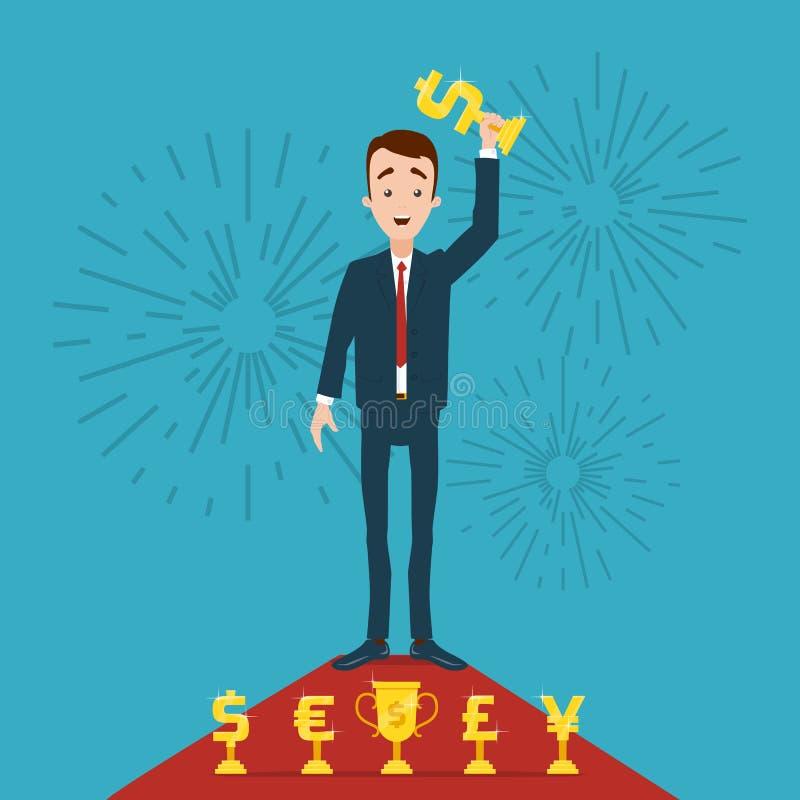 Een zakenman bevindt zich op een rood tapijt en houdt een gouden toekenning in zijn hand Begroeting op de achtergrond royalty-vrije illustratie