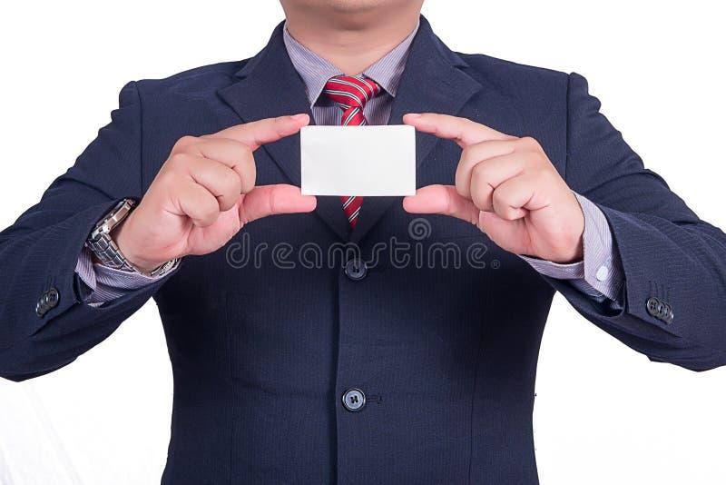 Een zakenman die adreskaartje aanbieden royalty-vrije stock afbeelding