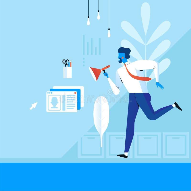 Een zakenman met een megafoon neemt het bureau door royalty-vrije illustratie