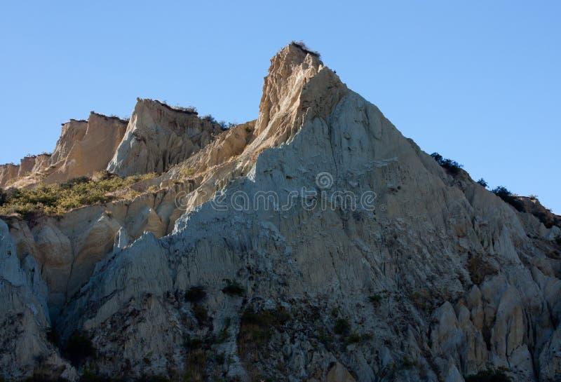 Een zandsteenrots in Omarama-Klippen in het Zuideneiland in Nieuw Zeeland stock afbeeldingen