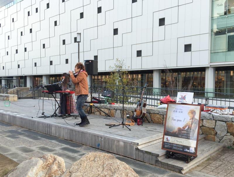 Een zanger op straat in Himeji, Japan stock afbeelding