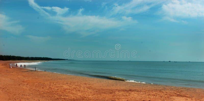 Een zeegezicht van het karaikal strand stock afbeelding