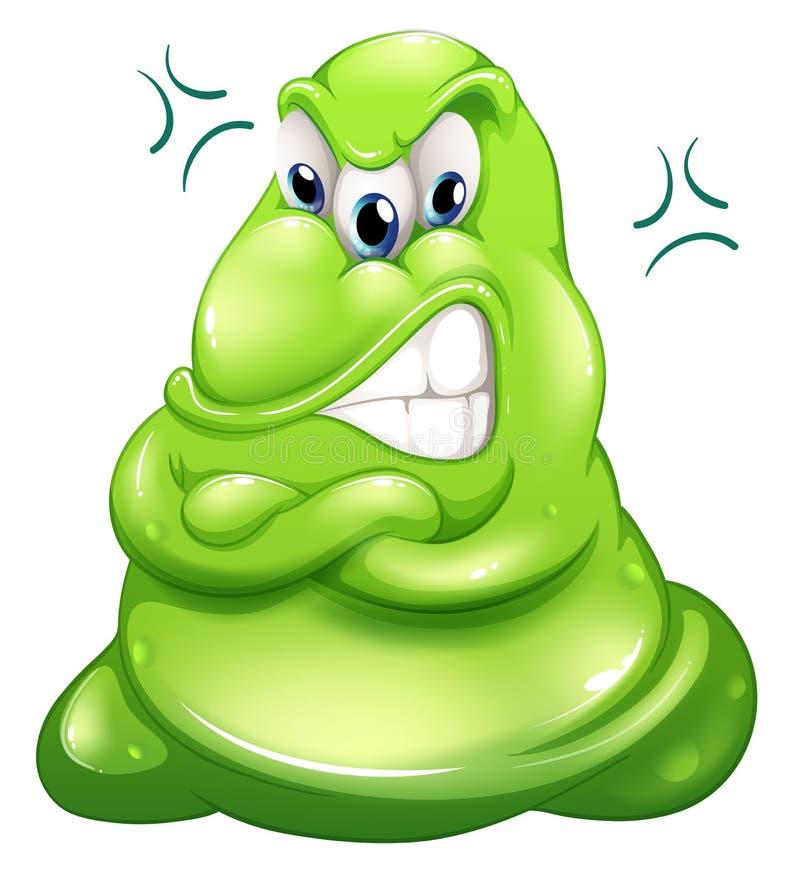 Een zeer boos groen monster stock illustratie