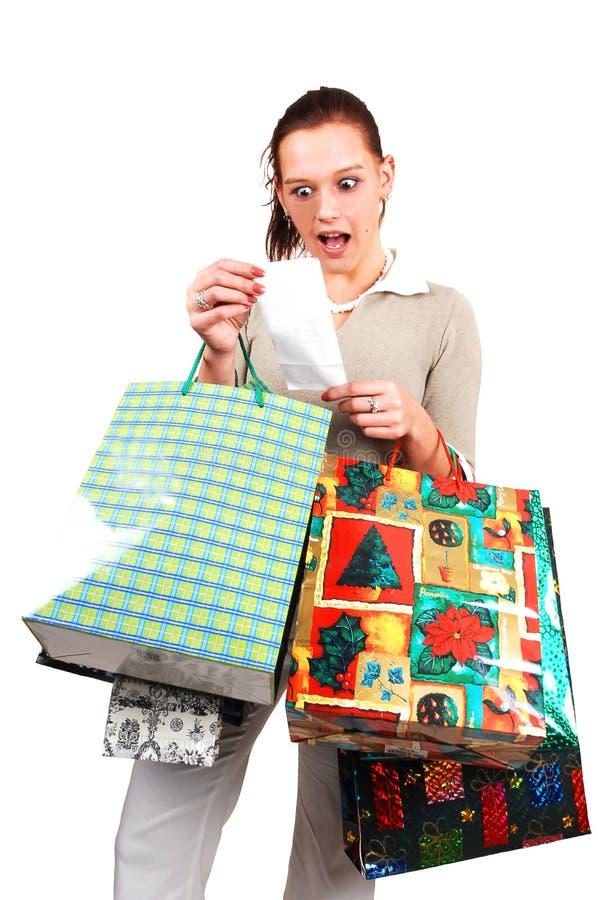 Een zeer verraste winkelende vrouw. royalty-vrije stock fotografie