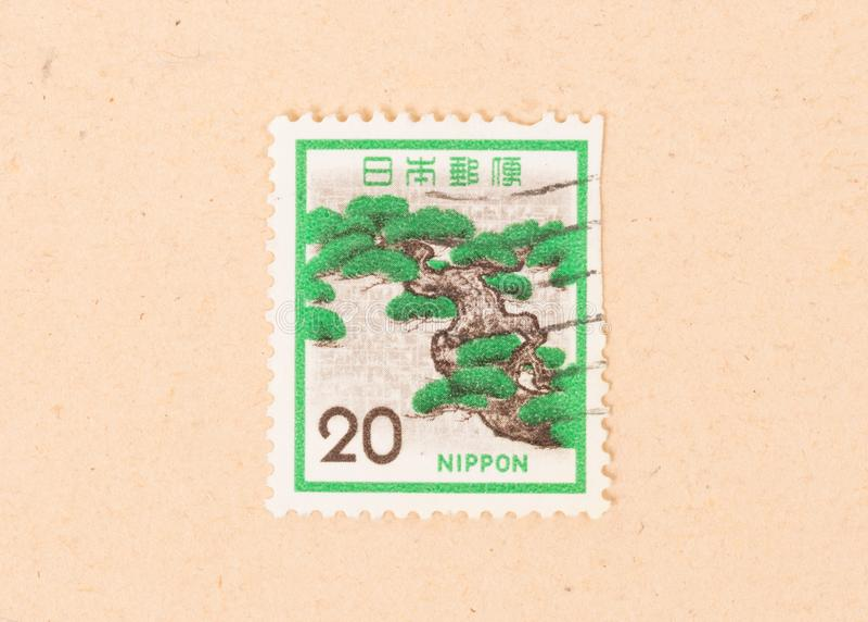 Een zegel in Japan wordt gedrukt toont een bonsaiboom, circa 1980 die royalty-vrije stock foto's