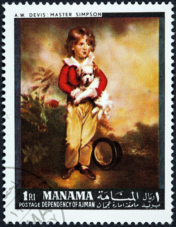 Een zegel in Manama wordt gedrukt toont het Schilderen Hoofdsimpson door Arthur William Devis dat royalty-vrije stock foto