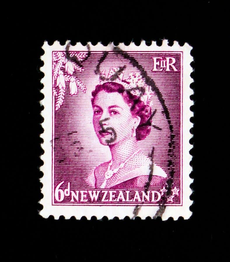 Een zegel in Nieuw Zeeland wordt gedrukt toont Zes Stuiverbelasting, Koningin Elizabeth II serie, circa 1954 die stock afbeeldingen