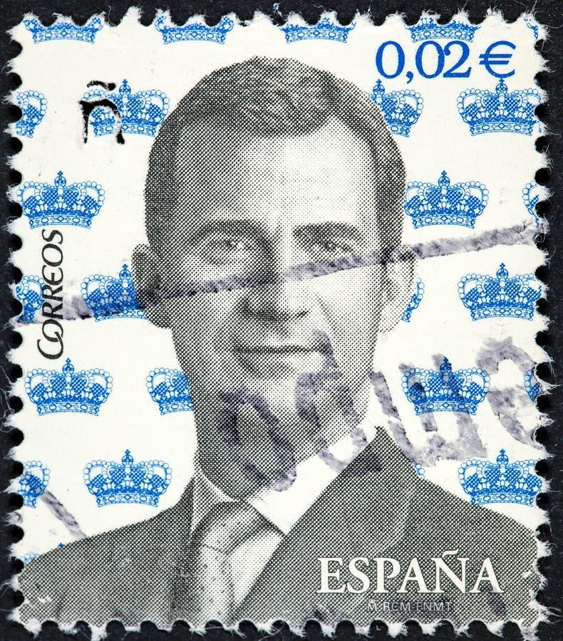Een zegel in Spanje wordt gedrukt die het portret van Koning Felipe VI dragen die royalty-vrije stock fotografie