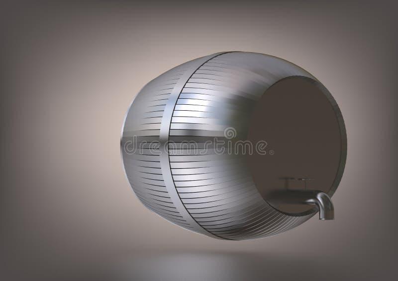 Een zilveren vat op grijs royalty-vrije illustratie