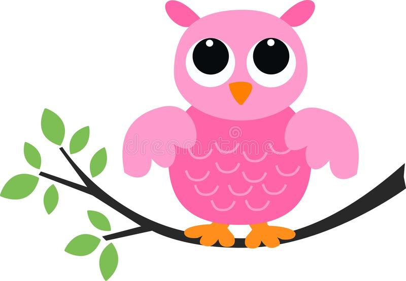 Een zoete roze uil royalty-vrije illustratie