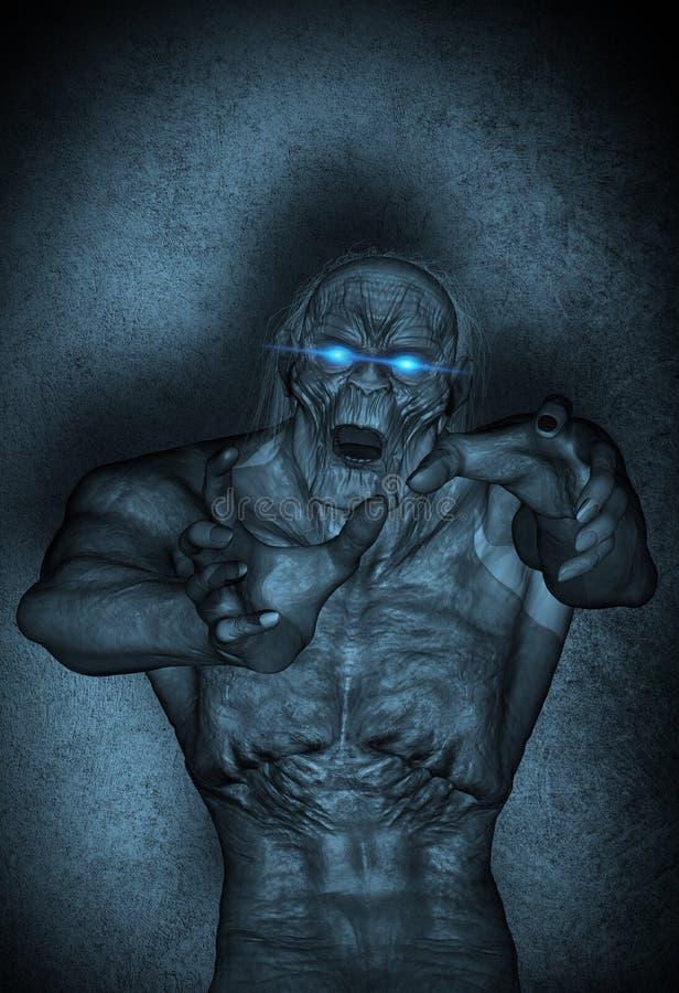 Een zombieaanval bij nacht royalty-vrije illustratie