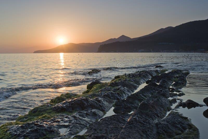 Een zonsondergang over de Zwarte Zee royalty-vrije stock foto