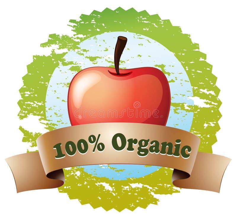 Een zuiver organisch etiket met een rode appel stock illustratie