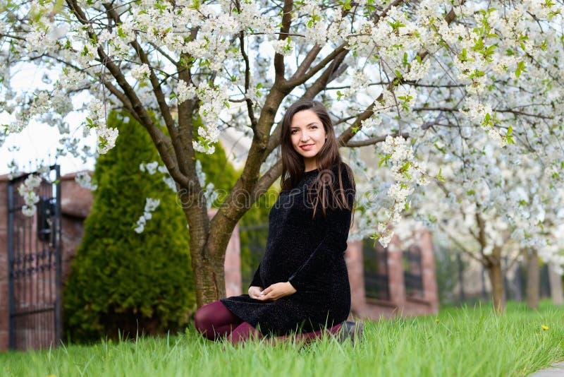 Een zwanger meisje zit in de tuin Mooie zwangere meisjeszitting op het groene gras in het park in de gelukkige zomer, royalty-vrije stock afbeelding