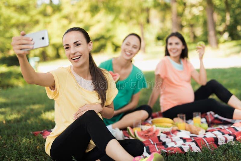 Een zwangere vrouw in een gele T-shirt zit met haar zwangere meisjes op een picknick in het park en maakt een selfie stock fotografie