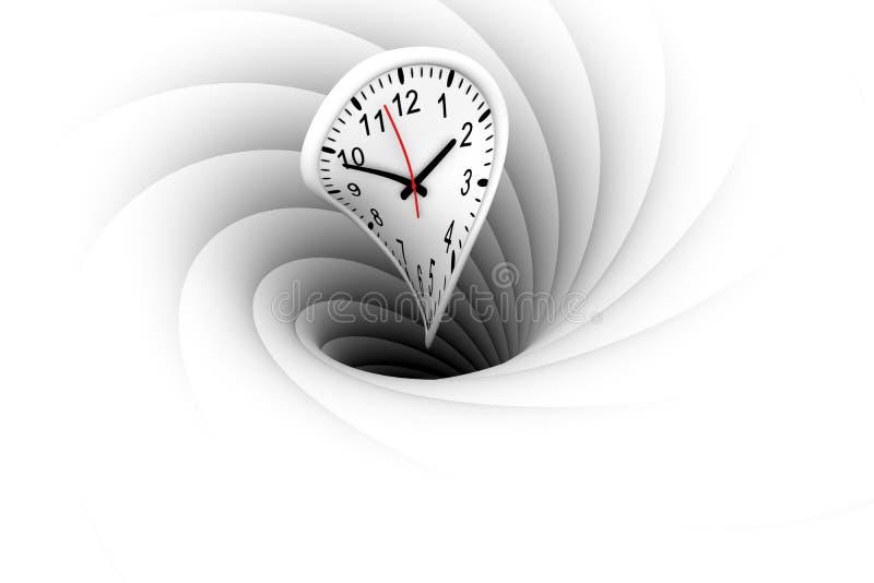 Een zwart gat trekt en absorbeert de tijd scheef vector illustratie