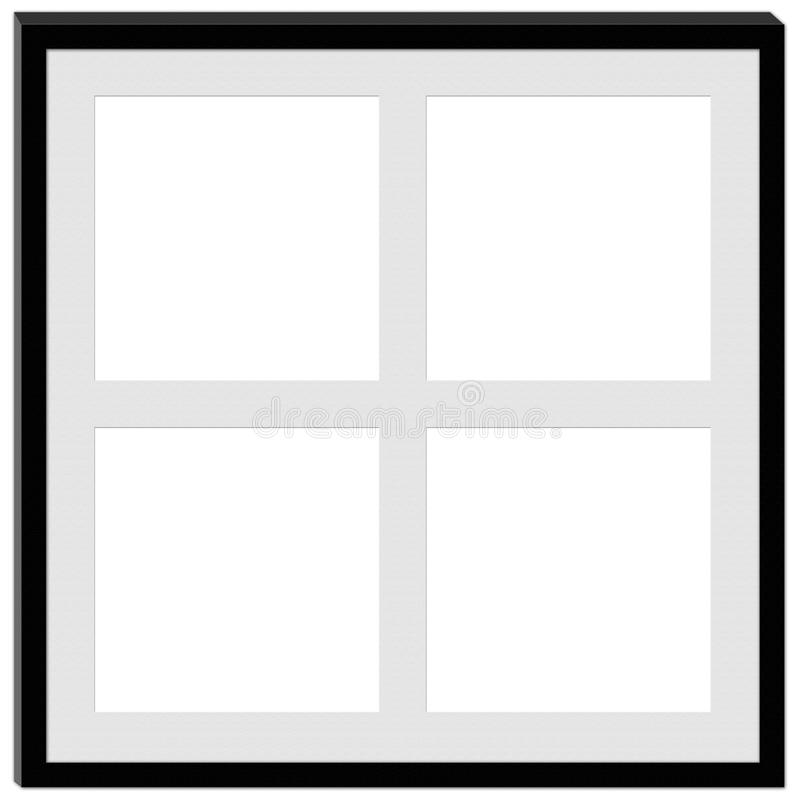 Een zwart kader met ruimte voor vier foto's stock illustratie