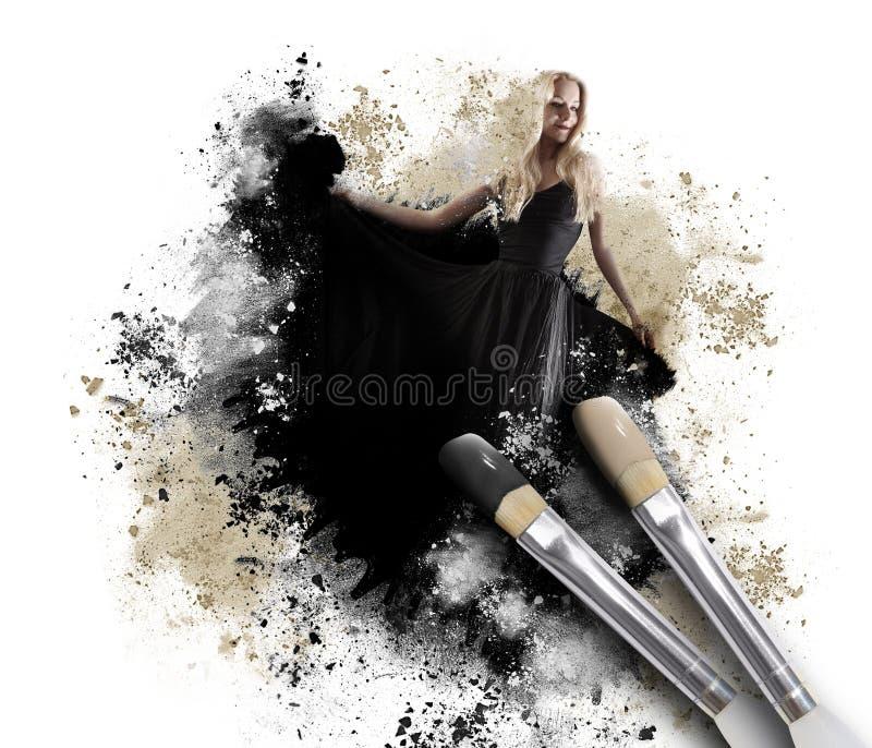 Schilderende Vrouw met Artistiek Penseel royalty-vrije stock afbeeldingen
