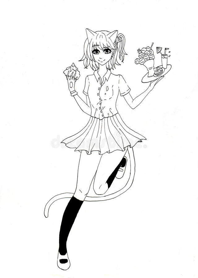 Een zwart-witte tekening van een het meisjesserveerster van de kattenstijl stock foto