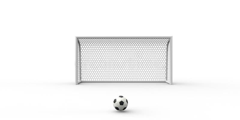 Een zwart-witte voetbal van de voetbalbal en een doelpost vector illustratie