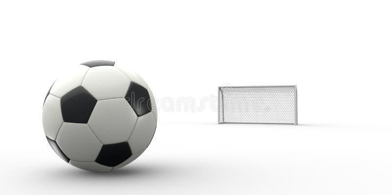 Een zwart-witte voetbal van de voetbalbal en een doelpost royalty-vrije illustratie