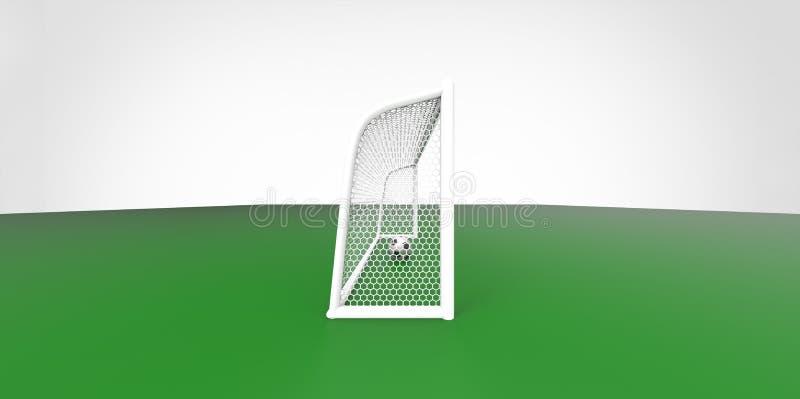 Een zwart-witte voetbal van de voetbalbal en een doelpost op een groen gebied zoals gras royalty-vrije illustratie