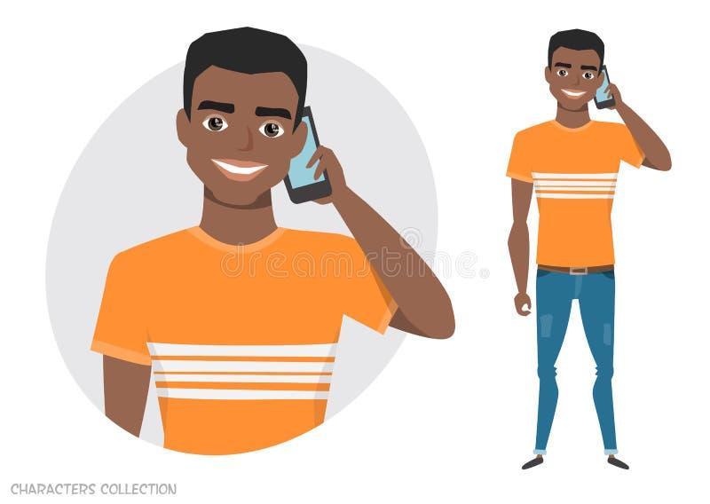 Een zwarte Afrikaanse Amerikaanse mens spreekt op de telefoon vector illustratie