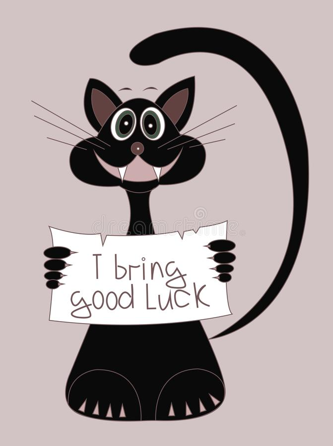 Een zwarte kat brengt goed geluk De illustratie van het beeldverhaal royalty-vrije illustratie