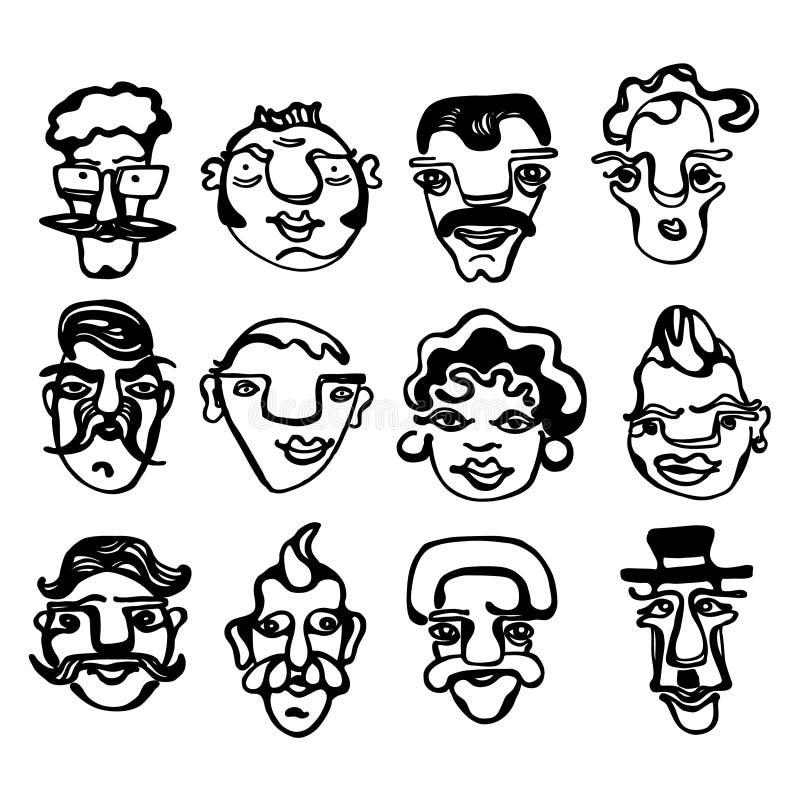 Een zwarte & witte illustratie van grappige gezichten stock foto's