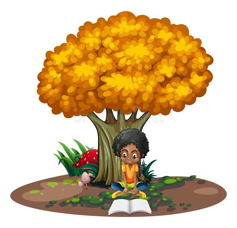 Een zwartelezing onder de boom vector illustratie